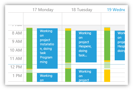 The calendar helps you to easily book your time. Green and yellow bars indicate booked and unbooked time.