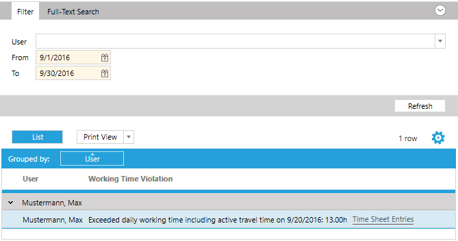 Screenshot listing of working time violation.