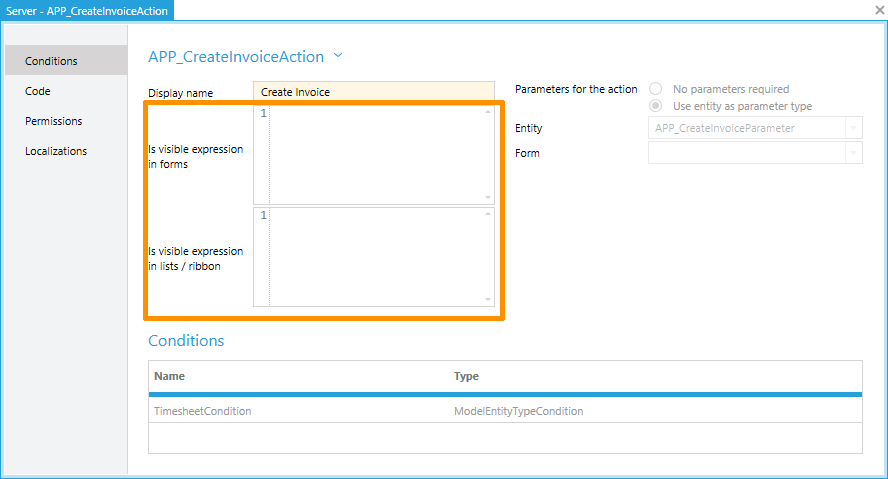 Configure the visibility of actions