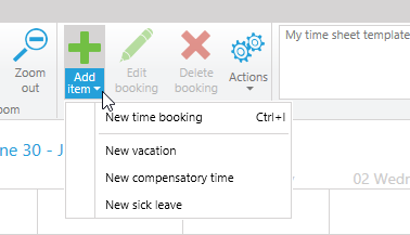 Add vacations in time tracking calendar